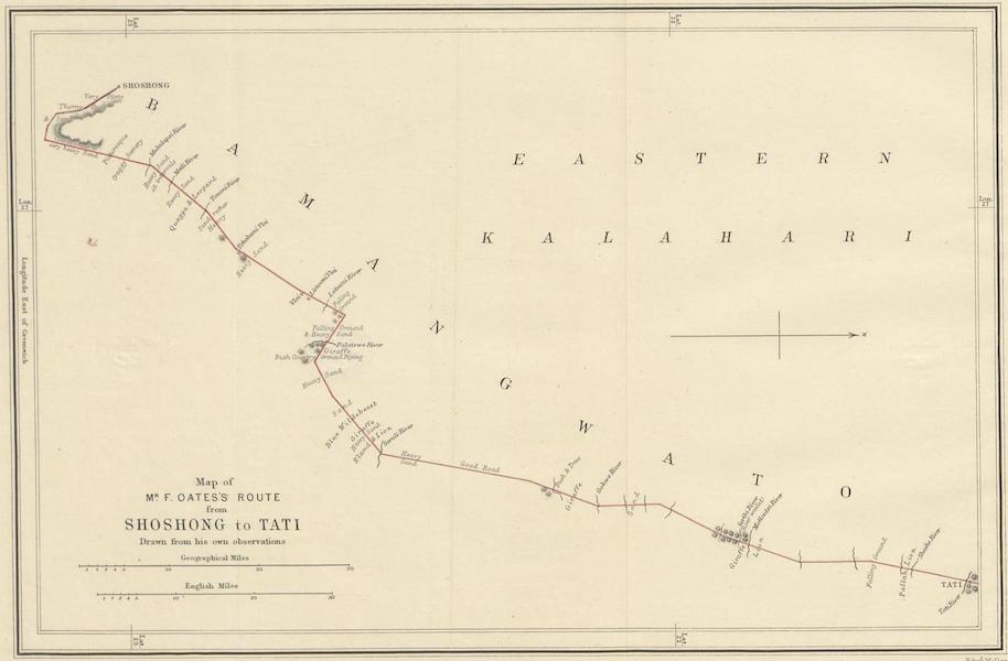 Map of Mr. F. Oates's Route from Shoshong to Tati